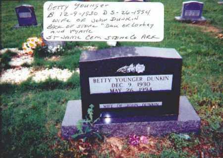 YOUNGER DUNKIN, BETTY - Stone County, Arkansas | BETTY YOUNGER DUNKIN - Arkansas Gravestone Photos