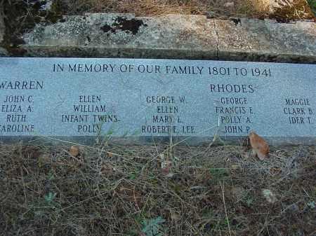 WARREN - RHODES PLOT, MARKER - Stone County, Arkansas | MARKER WARREN - RHODES PLOT - Arkansas Gravestone Photos
