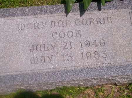 CURRIE COOK, MARY ANN - Union County, Arkansas | MARY ANN CURRIE COOK - Arkansas Gravestone Photos
