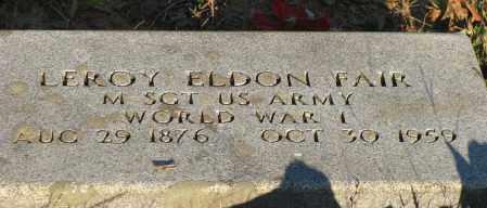 FAIR  (VETERAN WWI), LEROY ELDON - Van Buren County, Arkansas | LEROY ELDON FAIR  (VETERAN WWI) - Arkansas Gravestone Photos