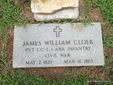 CLOER (VETERAN UNION), JAMES WILLIAM - Washington County, Arkansas | JAMES WILLIAM CLOER (VETERAN UNION) - Arkansas Gravestone Photos