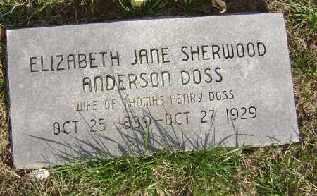 SHERWOOD DOSS, ELIZABETH JANE - Washington County, Arkansas | ELIZABETH JANE SHERWOOD DOSS - Arkansas Gravestone Photos