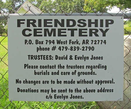 *FRIENDSHIP CEMETERY SIGN,  - Washington County, Arkansas |  *FRIENDSHIP CEMETERY SIGN - Arkansas Gravestone Photos