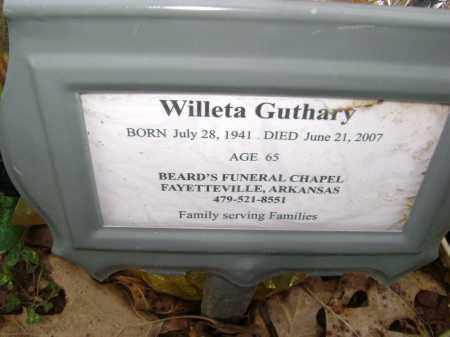 GUTHARY, WILLETA - Washington County, Arkansas   WILLETA GUTHARY - Arkansas Gravestone Photos