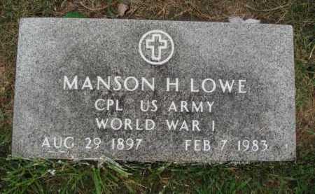 LOWE  (VETERAN WWI), MANSON H. - Washington County, Arkansas   MANSON H. LOWE  (VETERAN WWI) - Arkansas Gravestone Photos