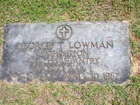 LOWMAN (VETERAN WWI), GEORGE T - Washington County, Arkansas | GEORGE T LOWMAN (VETERAN WWI) - Arkansas Gravestone Photos