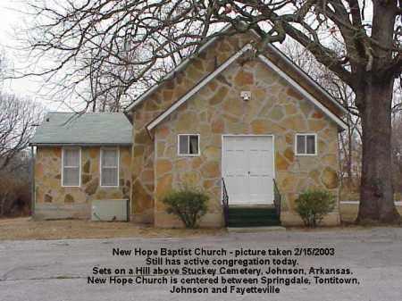 *NEW HOPE BAPTIST CHURCH,  - Washington County, Arkansas |  *NEW HOPE BAPTIST CHURCH - Arkansas Gravestone Photos