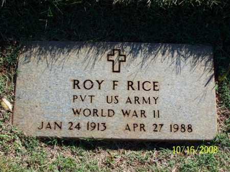 RICE (VETERAN WWII), ROY F. - Washington County, Arkansas | ROY F. RICE (VETERAN WWII) - Arkansas Gravestone Photos