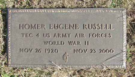 RUSSELL (VETERAN WWII), HOMER EUGENE - Washington County, Arkansas | HOMER EUGENE RUSSELL (VETERAN WWII) - Arkansas Gravestone Photos