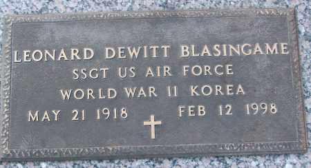 BLASINGAME (VETERAN 2 WARS), LEONARD DEWITT - White County, Arkansas   LEONARD DEWITT BLASINGAME (VETERAN 2 WARS) - Arkansas Gravestone Photos