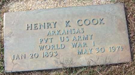 COOK (VETERAN WWI), HENRY K - White County, Arkansas | HENRY K COOK (VETERAN WWI) - Arkansas Gravestone Photos