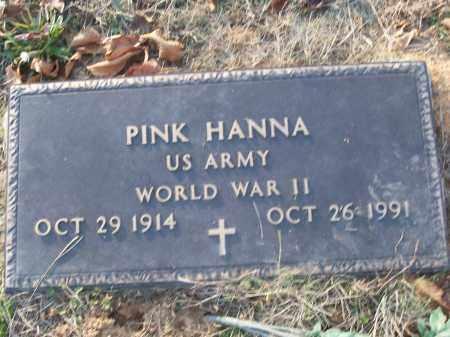 HANNA (VETERAN WWII), PINK - White County, Arkansas | PINK HANNA (VETERAN WWII) - Arkansas Gravestone Photos