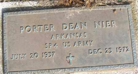 NIER (VETERAN), PORTER DEAN - White County, Arkansas | PORTER DEAN NIER (VETERAN) - Arkansas Gravestone Photos
