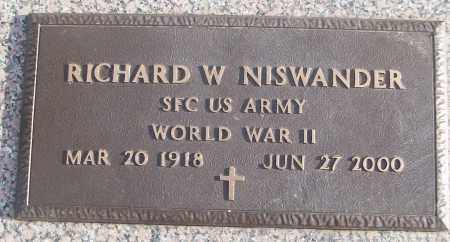 NISWANDER (VETERAN WWII), RICHARD W - White County, Arkansas | RICHARD W NISWANDER (VETERAN WWII) - Arkansas Gravestone Photos