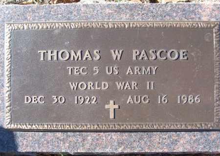 PASCOE (VETERAN WWII), THOMAS W - White County, Arkansas | THOMAS W PASCOE (VETERAN WWII) - Arkansas Gravestone Photos
