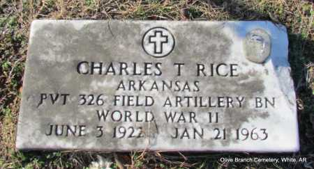 RICE (VETERAN WWII), CHARLES T. - White County, Arkansas   CHARLES T. RICE (VETERAN WWII) - Arkansas Gravestone Photos