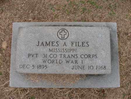 FILES (VETERAN WWI), JAMES A - Woodruff County, Arkansas | JAMES A FILES (VETERAN WWI) - Arkansas Gravestone Photos