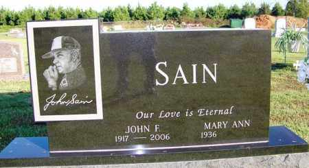 SAIN (VETERAN WWII, FAMOUS), JOHN FRANKLIN - Yell County, Arkansas | JOHN FRANKLIN SAIN (VETERAN WWII, FAMOUS) - Arkansas Gravestone Photos