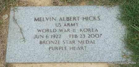 HICKS (VETERAN 2 WARS), MELVIN ALBERT - Arkansas County, Arkansas | MELVIN ALBERT HICKS (VETERAN 2 WARS) - Arkansas Gravestone Photos