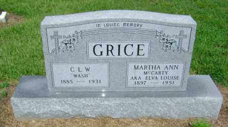 MCCARTY GRICE, MARTHA ANN AKA ELVA LOUISE - Ashley County, Arkansas | MARTHA ANN AKA ELVA LOUISE MCCARTY GRICE - Arkansas Gravestone Photos