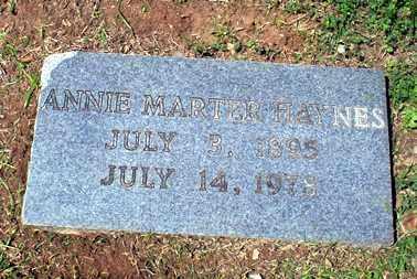HAYNES, ANNIE MARTER - Ashley County, Arkansas | ANNIE MARTER HAYNES - Arkansas Gravestone Photos