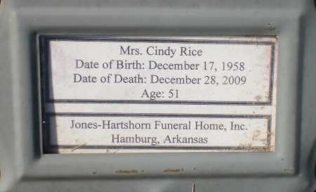 RICE, CINDY - Ashley County, Arkansas   CINDY RICE - Arkansas Gravestone Photos