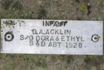ACKLIN, D. A. - Baxter County, Arkansas | D. A. ACKLIN - Arkansas Gravestone Photos