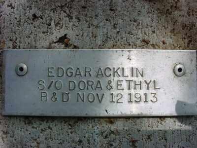 ACKLIN, EDGAR - Baxter County, Arkansas   EDGAR ACKLIN - Arkansas Gravestone Photos
