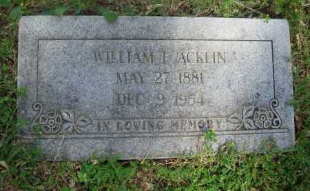 ACKLIN, WILLIAM F. - Baxter County, Arkansas | WILLIAM F. ACKLIN - Arkansas Gravestone Photos