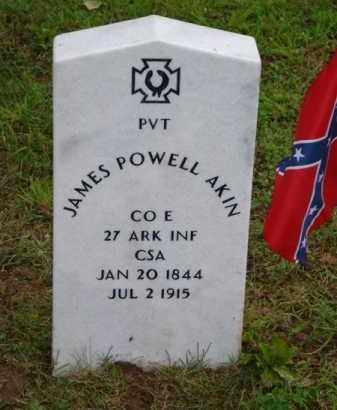 AKIN (VETERAN CSA), JAMES POWELL (OBIT) - Baxter County, Arkansas | JAMES POWELL (OBIT) AKIN (VETERAN CSA) - Arkansas Gravestone Photos
