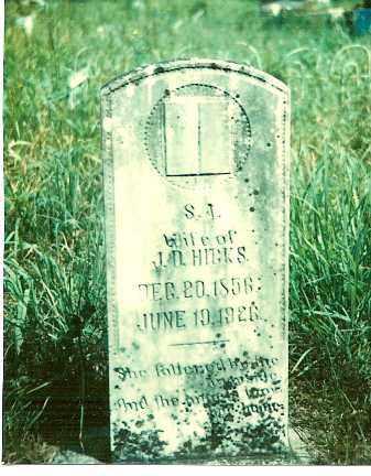 HICKS, S. A. - Baxter County, Arkansas | S. A. HICKS - Arkansas Gravestone Photos