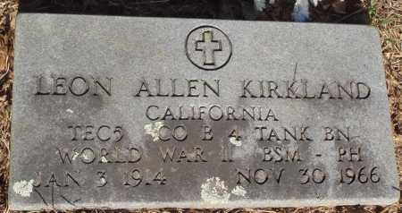KIRKLAND  (VETERAN WWII), LEON ALLEN - Baxter County, Arkansas   LEON ALLEN KIRKLAND  (VETERAN WWII) - Arkansas Gravestone Photos