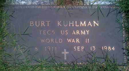 KUHLMAN  (VETERAN WWII), BURT - Baxter County, Arkansas   BURT KUHLMAN  (VETERAN WWII) - Arkansas Gravestone Photos