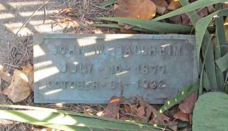 BALLHEIM, JOHN W. - Benton County, Arkansas   JOHN W. BALLHEIM - Arkansas Gravestone Photos