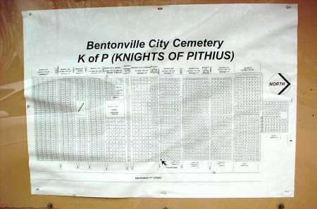 *BENTONVILLE CEMETERY MAP,  - Benton County, Arkansas |  *BENTONVILLE CEMETERY MAP - Arkansas Gravestone Photos