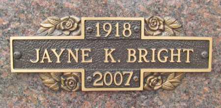 BRIGHT, JAYNE - Benton County, Arkansas | JAYNE BRIGHT - Arkansas Gravestone Photos