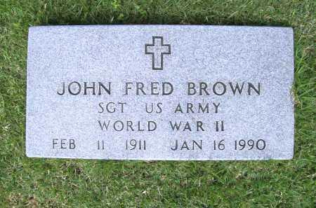 BROWN (VETERAN WWII), JOHN FRED - Benton County, Arkansas   JOHN FRED BROWN (VETERAN WWII) - Arkansas Gravestone Photos