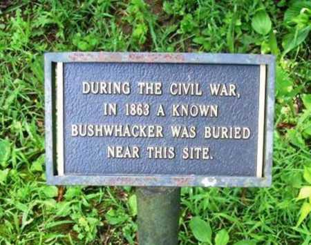 BUSHWHACKER, UNKNOWN - Benton County, Arkansas   UNKNOWN BUSHWHACKER - Arkansas Gravestone Photos