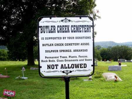 *BUTLER CREEK CEMETERY SIGN,  - Benton County, Arkansas |  *BUTLER CREEK CEMETERY SIGN - Arkansas Gravestone Photos