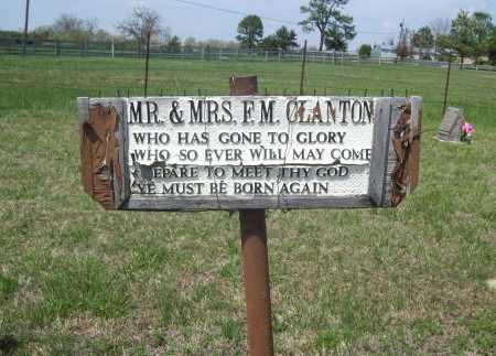 *CLANTONVILLE CEMETERY SIGN, MR. & MR.S F. M. CLANTON - Benton County, Arkansas | MR. & MR.S F. M. CLANTON *CLANTONVILLE CEMETERY SIGN - Arkansas Gravestone Photos