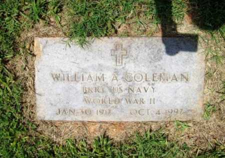 COLEMAN (VETERAN WWII), WILLIAM A. - Benton County, Arkansas | WILLIAM A. COLEMAN (VETERAN WWII) - Arkansas Gravestone Photos