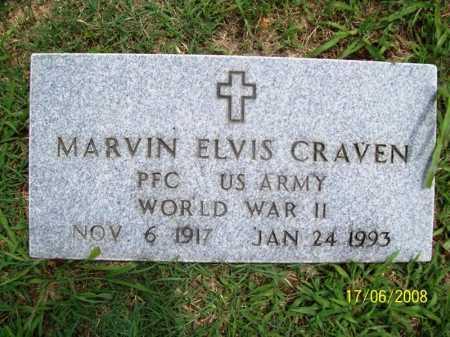 CRAVEN (VETERAN WWII), MARVIN ELVIS - Benton County, Arkansas | MARVIN ELVIS CRAVEN (VETERAN WWII) - Arkansas Gravestone Photos