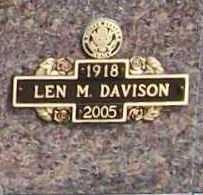 DAVISON, LEN M. - Benton County, Arkansas | LEN M. DAVISON - Arkansas Gravestone Photos