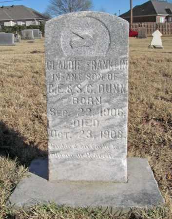 DUNN, CLAUDIE FRANKLIN - Benton County, Arkansas | CLAUDIE FRANKLIN DUNN - Arkansas Gravestone Photos