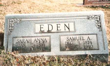 EDEN, SAMUEL A. - Benton County, Arkansas | SAMUEL A. EDEN - Arkansas Gravestone Photos