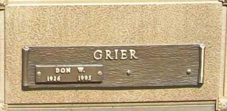 GRIER (VETERAN WWII), DON W - Benton County, Arkansas | DON W GRIER (VETERAN WWII) - Arkansas Gravestone Photos