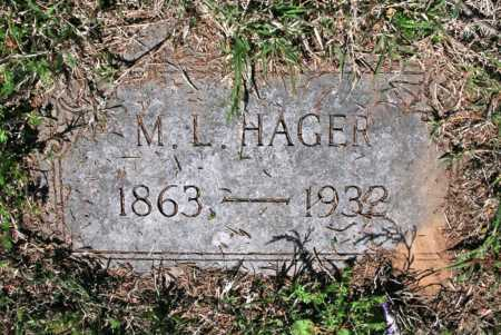 HAGER, M. L. - Benton County, Arkansas   M. L. HAGER - Arkansas Gravestone Photos