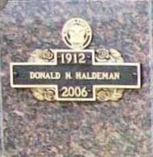 HALDEMAN, DONALD N. - Benton County, Arkansas | DONALD N. HALDEMAN - Arkansas Gravestone Photos