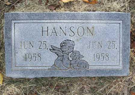 HANSON, INFANT SON (REPLACEMENT) - Benton County, Arkansas   INFANT SON (REPLACEMENT) HANSON - Arkansas Gravestone Photos