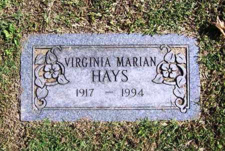 HAYS, VIRGINIA MARIAN - Benton County, Arkansas   VIRGINIA MARIAN HAYS - Arkansas Gravestone Photos